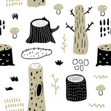 Hand Drawn Seamless Pattern with Forest Trees. Creative Childish Background with Cute Stumps for Fabric, Textile, Wallpaper, Decoration, Prints. Vector illustration - 202730960