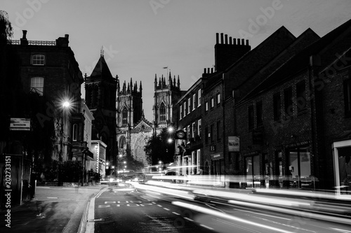 Sundown of central York, UK, with York Minster cathedral on the back. Black and white