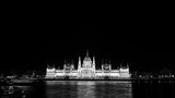 Night view of illuminated Parliament building in Budapest, Hungary. Black and white - 202733325