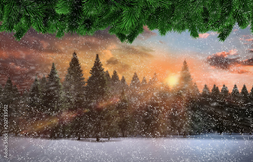 Plexiglas Chocoladebruin Composite image of snow falling against fir tree forest in snowy landscape