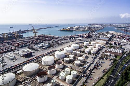 Fotobehang Barcelona Aerial view from Zona Franca - Port, the industrial port of Barcelona