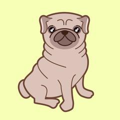Kawaii illustration of a cute little chubby pug dog.