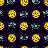 Abstract seamless halloween pattern for girls or boys. Creative vector background with a flying, hairy, multi-eyed monster. A terrible, terrifying ball. Colorful bright halloween pattern for children.