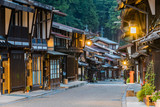 Narai-juku, Japan - September 4, 2017: Picturesque view of old Japanese town with traditional wooden architecture. Narai-juku post town in Kiso Valley, Japan - 202756749