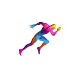 Paper cut shape sports man running 3D origami. Trendy concept fashion design. Vector illustration.