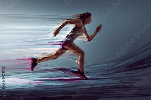 Fototapeta Läuferin mit künstlerischen Maleffekten