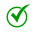Green check mark icon in a circle. Check list button icon