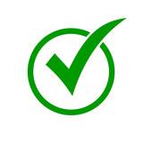Green check mark icon in a circle. Check list button icon - 202788149