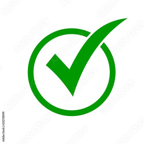 Ikona zielony znacznik wyboru w kółko. Sprawdź ikonę przycisku listy