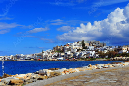 Canvas Donkerblauw Scenic view of Naxos old town