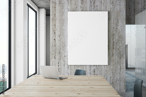 Foto Murales Contemporary office with blank banner