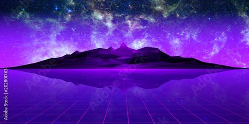 Fotobehang Violet Purple polygonal landscape