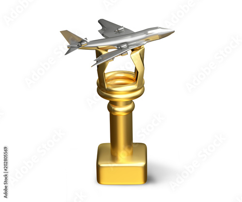 golden silver airplane trophy isolated 3d illustration