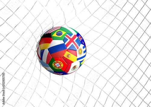 soccer football ball soccer shot on goal 3d illustration
