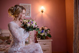 wedding photosession of the bride in photo studio - 202814354