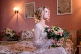wedding photosession of the bride in photo studio - 202814565