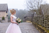 wedding photo session of the bride in the nature - 202816185
