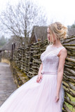 wedding photo session of the bride in the nature - 202816507