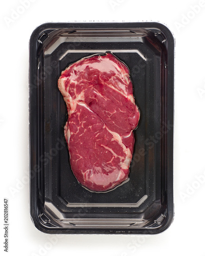 Plexiglas Steakhouse raw beef steak in vacoom package