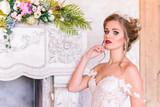 wedding photosession of the bride in photo studio - 202818949