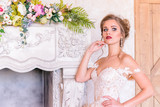 wedding photosession of the bride in photo studio - 202818999