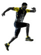 one caucasian man trail runner running silhouette isolated on white background