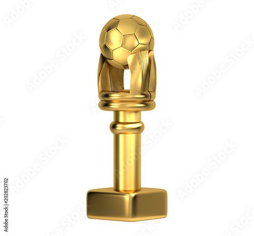golden soccer ball trophy 3d illustration isolated