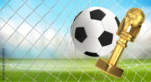 soccer ball trophy and soccer net 3d illustration