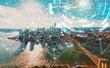Digital Tech Circle with New York City at sunset