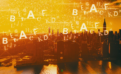 Alphabets with the Manhattan, NY skyline in sunset