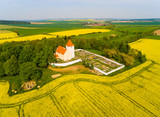 erial view to Church St. Vitus with graveyard in Srbice. Romantic place on Czech countryside, Central europe. - 202829134