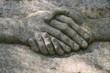 Leinwanddruck Bild - Sculpture of a handshake. Donate comfort
