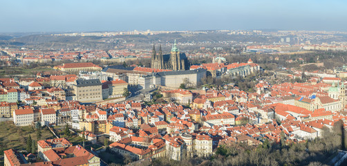 Panorama of Prague in sunlight of winter afternoon, Czech Republic.