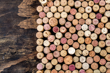 Wine corks background. Copy space