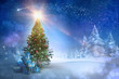 Composite image of christmas tree with gifts against snowy landscape with fir trees