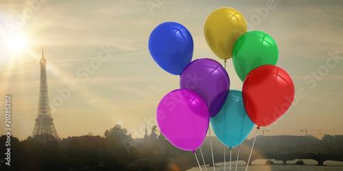 Foto Murales Colourful balloons against eiffel tower