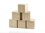 Wooden Building Blocks isolated against white background - 202852711