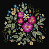 Classic style embroidery, beautiful fashion template for clothes, t-shirt design. Embroidery wild roses, dogrose flowers vector - 202856521