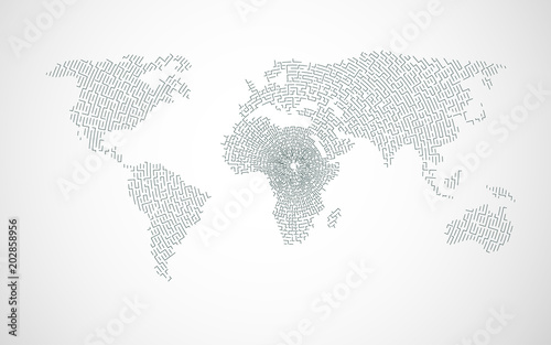Canvas Wereldkaarten vector of world map combined with maze pattern, concept of global network technology