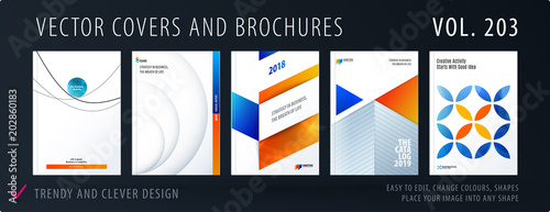 Poster Design set of colourful abstract templates for business, trendy shapes, circles, rounds, rectangles, triangles.