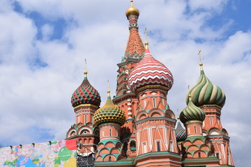 domes of the cathedral on the Red Square in Moscow