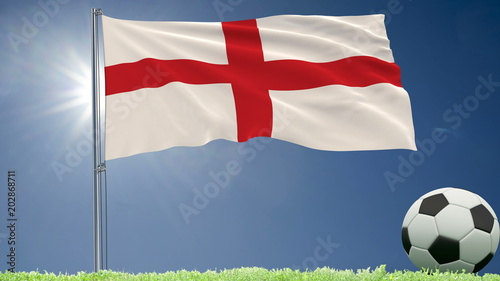 Flag of England fluttering and a football rolls on the lawn, 3d rendering.