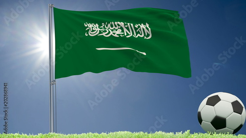 Flag of Saudi Arabia fluttering and a football rolls on the lawn, 3d rendering.