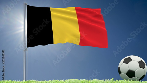 Flag of Belgium fluttering and a football rolls on the lawn, 3d rendering.