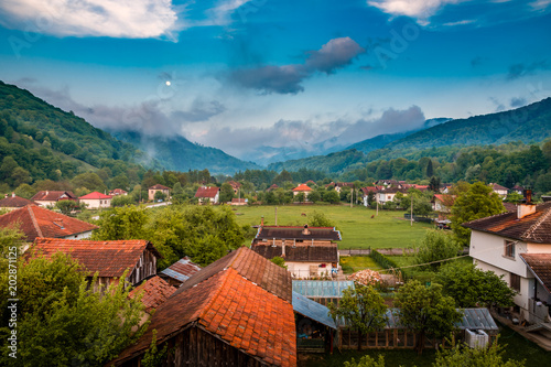 Fotobehang Blauwe jeans Beautiful view over Bulgarian village Ribaritsa, Lovech Province in Bulgaria. Excellent place for Ecotourism and nature exploring.
