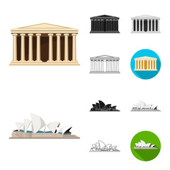 Sights of different countries cartoon,black,flat,monochrome,outline icons in set collection for design. Famous building vector symbol stock web illustration. © pandavector