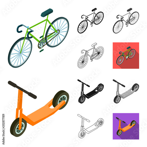 Wall mural Different types of transport cartoon,black,flat,monochrome,outline icons in set collection for design. Car and ship isometric vector symbol stock web illustration.