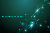 Geometric graphic background artificial intelligence. Turbulence flow trail. Futuristic science and technology background. Big data visualization complex with compounds. Cybernetics illustration - 202882719