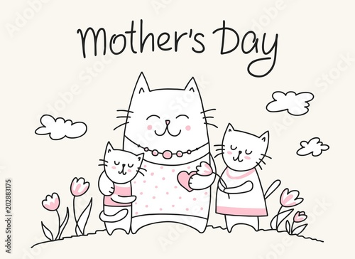 Fototapeta Happy Mothers Day card with cat mom and little kitties. Flat vector Mother`s Day animal illustration