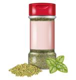 Bottle of dry oregano leaves and fresh oregano. Vector illustration. - 202884768